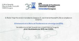 Invitación al acto 30 aniversario de la OTRI de la Universidad de Zaragoza @ Edificio Paraninfo