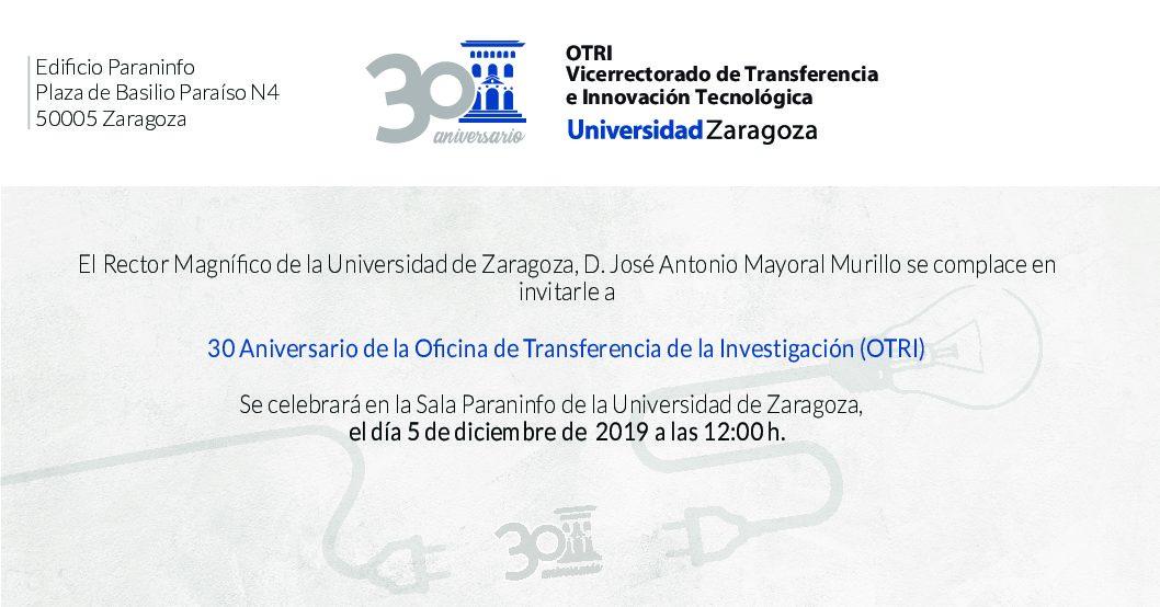 Invitación al acto 30 aniversario de la OTRI de la Universidad de Zaragoza